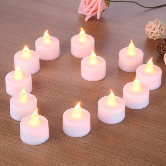 12 Pieces Battery Operated Flickering Flameless LED Tea Light Candles